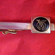 MASON's SWANK 1950's Black Enamel & Gold Plate TIE Clasp