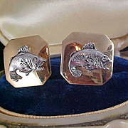 ANSON - Pat. Pend - Silver Plate Fish over Gold Plate ~ Cuff Links