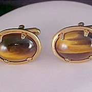 Free Ship~Mid Century Tiger's Eye & Gold Plate Oval Cuff Links