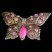 Designer ART Hot Pink Art Glass  BUTTERFLY Enamel & Rhinestone Brooch