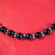DISCOUNTED 50% ~ Black Cabochons Flanked by Diamante Chatons Dimensional BRACELET