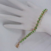 Free Ship~Large PERIDOT Swarovski PASTE  - Prong Set - Gold Plate Tennis Bracelet