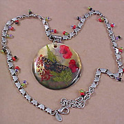 Abalone Shell, florals under Laminate Pendant & Glass Bead Necklace