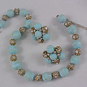 1950's Signed VOGUE - Stunning Baby Blue SUGAR BEADS ~ Filigree Diamante Balls Demi Parure
