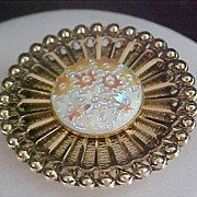 Unsigned WEST GERMANY Sparkly Cabochon Gold Plate Dress Clip