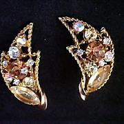 FREE Ship ~ EMMONS Rhinestone Clip Earrings