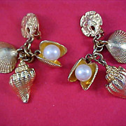 """SEA  THINGS"" Signed Fernando Originals ~ Adorable Dangle Clip Earrings"