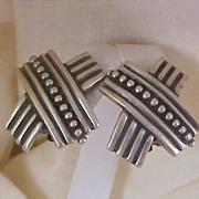 """Designer  N. P. ~ """"HUGS""""  Antiqued Silver Plate Clip Earrings"""