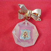 "Frosted Lucite ~ Embedded  Logo ""Labor Omnia Vincit"" Dangle Brooch Bow ""Watch Pin"""