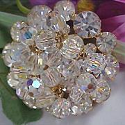 D & E JULIANA !Sparkling Hues~ Dangle Crystals ~ Swarovski Crystal Round Cut Brooch
