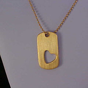 Free Ship ~ Sweetheart 1950's DOG TAG Heart Pendant & Chain