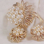 HIGH END Suite by CROWN TRIFARI ~ Simulated Pearls & Gold Plate Brooch & Clip Earrings