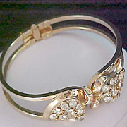 FREE Shipping~Diamante Clamper Hinged BANGLE Bracelet