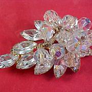 D & E  Juliana CRYSTAL MARQUIS Cut & Round Facet Dangles Gold Plate Brooch
