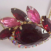 EXOTIC  Massive Pear Cut Ruby Art Glass & Pink & Ruby Red Marquis Cut Rhinestones Pendant & Chain