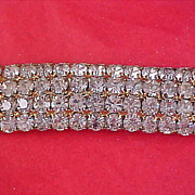 REDUCED~ 1940's Diamante Prong Set 4 Row Gold Plate Belt Buckle