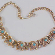 Unsigned CORO AQUAMARINE & Diamante ~  Rose Gold Plate Necklace/Choker