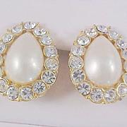 TRIFARI Signed  ~ Simulated Pear Shape Pearl & Diamante Clip Earrings