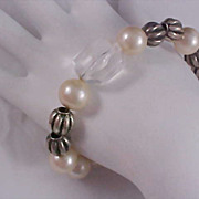 Simulated Pearls & Crystal Silver Tone Bead Expandable Bracelet