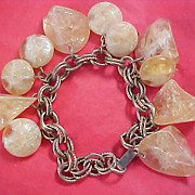UNIQUE Vintage amber  Celluloid Varied  Stones Shapes Dangle Bracelet