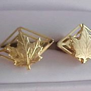 Gold Plate Open MAPLE LEAF  Gold Plate Unisex Cuff Links