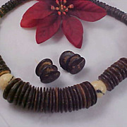Massive Brown Lucite Button Discs & Ivory Colored & Black  Bead Necklace & Matching Earrings