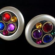Imitation Pearl Massive Earrings & Multi-Color Rhinestones Clip Earrings