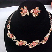 Glass GOLDSTONE CABOCHONS ~ Demi ~ Necklace & Clip Earrings