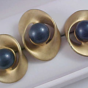 Exquisite  Dark Blue Cabochons ~ Antiqued Gold Plate  Demi Suite ~ Pendant & Earrings