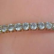 Genuine CUBIC ZIRCONIA ~ Signed ~ Herringbone Gold Plate Bracelet.