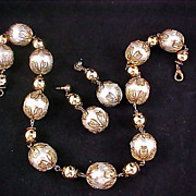 Massive Imitation  Glass Pearls & Filigree Gilt  Gold Caps ~ Gold Plate Bead Demi ~ Necklace *&Post  Earrings
