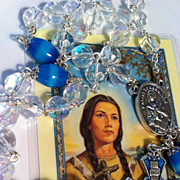 Aurora Borealis & Aquamarine-Turquoise Moonstone ITALY ~ Saint Kateri Tekakwitha Rosary