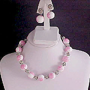 Showstopper vy Designer  VOGUE ~ Pink & White Art Glass marbled Beads ~Pave Diamante Beads Demi - Necklace & Clip Earrings