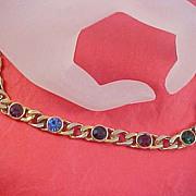 Free Ship~Multi Rhinestone BEZEL-Set Gold Plate Bracelet