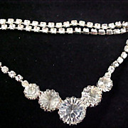 Reduced~ART DECO Headlights & Chatons Diamante & Silver Plate Necklace