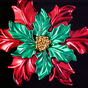 Spectacular FESTIVE POINSETTIA ~ Red & Green ~ Gold & Silver Plate Brooch and Pendant