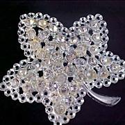 ART DECO~ Bezel Set Diamante ~ OAK LEAF Silver Plate Brooch