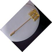 "MID-CENTURY Initial ""M"" Dimensional Gold Plate Stick Pin"