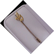 "MID-CENTURY Initial ""G"" Dimensional Gold Plate Stick Pin"