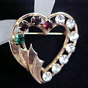 Multi-RHINESTONE ~ 1/20th 12KT G.F. ~ Designer ~ Catamore  HEART Open Workmanship Mother -Grandmother Brooch/Pin