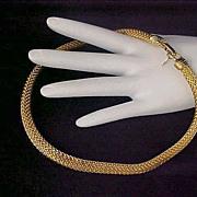 Captivating & Shimmering LES BERNARD ~  Mesh Gold Plate ~  Signed CHOKER Necklace