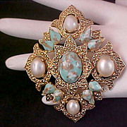 Sarah Coventry's REMEMBRANCE Faux Pearl & Turquoise Brooch and Pendant
