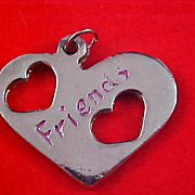 "Free Shipping USA - Cut Work Silver Plate HEART Charm ""FRIENDS"" Etched in Red"