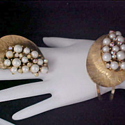 Lavish Simulated Pearl & AB Hinged Cuff Bangle & Matching Brooch