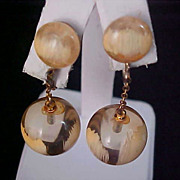 Clear Amber Lucite Ball Beads & Cabochons ~ Splashed Cream Hand Painted Dangle Clip Earrings