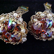 Show Stopper HOBE` Heliotrope  Crystal Hand Wired Clip Earrings