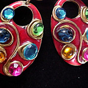 Designer DON-LIN Multi-Rhinestone Post Earrings.