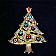 JJ Designer Multi- Light Rhinestone  Classic  CHRiSTMAS TREE Brooch/Pin