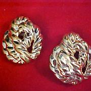 Gold Plate French Designed by GUY LAROCHE Clip Earrings