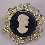 Black Glass & White Silhouette Cameo ~ Light Gold Plate Open Design Brooch